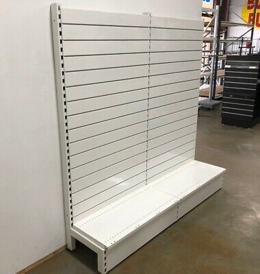 New Retail Shelving with Slatwall Panel-White-1800H x 2 bays