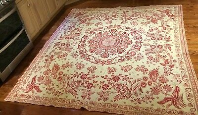 Antique Reversible 19th Century Woven Blanket Hand Crafted Loom Dated 1828- 1859