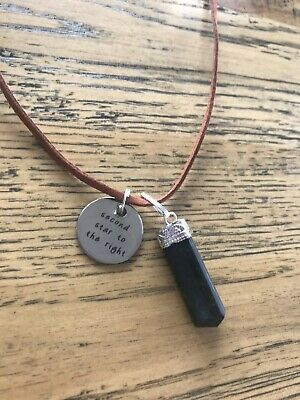 'second star to the right' Peter Pan quote pendant black tourmaline necklace