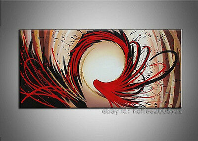 Hand Painted Red Abstract Oil Painting on Canvas Wall Art Modern Home Decor