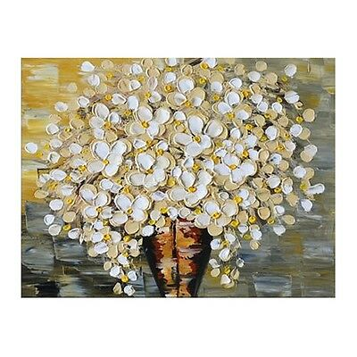 Hand Painted Flower Oil Painting Yellow Floral Canvas Wall Art Modern Home Decor