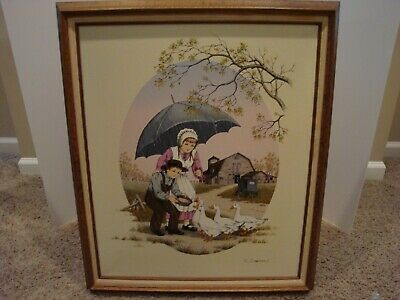 Vintage C. Carson Framed Oil Painting Of Boy Feeding Ducks**Very Large Print**