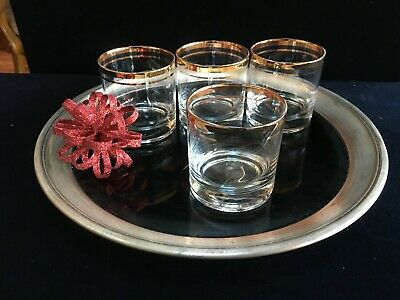 Gorgeous Mid Century Modern Gold Band Doubles-Rocks-Old Fashion Glasses Set of 4