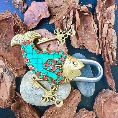 Fish Antique lock Vintage style Brass Padlock working lock skeleton key love loc