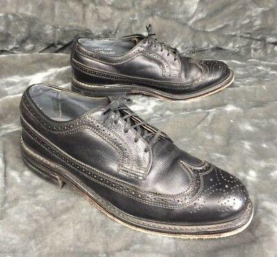 1a2678e177312 Vintage Men s Jc Penny Black Leather Longwing Wingtip Oxfords 9 D In Euc