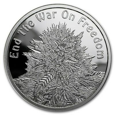 1 oz silver proof Cannabis end the war on freedom .999 pure silver shield weeds