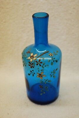 Beautiful Victorian Blue Flower Decorated Art Glass Vase 1880's