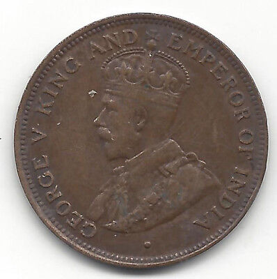 1918 British Honduras 1 Cent Bronze King George V & Emperor of India 40k Mintage