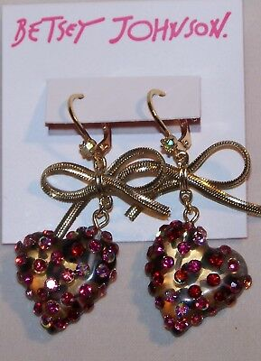 BETSEY JOHNSON Rhinestone Lucite Heart Earrings-Pink Stone-Bows-Pierced-New