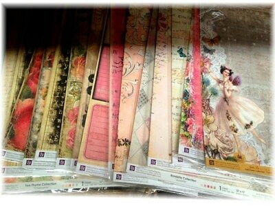 Bulk Lot PRIMA 15 Sheets of 12x12 SCRAPBOOKING PAPERS Paper Card Making