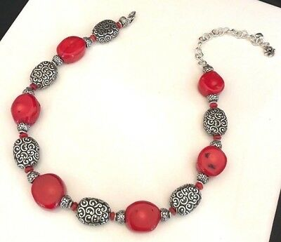 Brighton Necklace Antique Silver Tone Red Natural Stone 8V