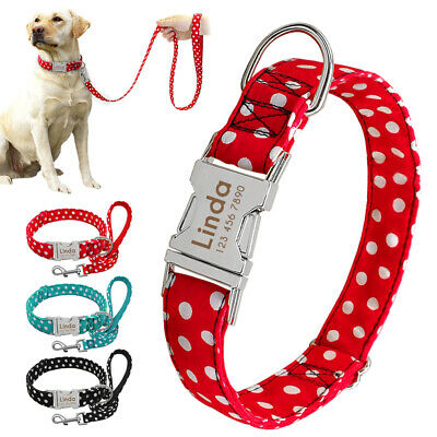 Personalized Small Large Dog Collars and Leash Set Custom Pet Name ID Engraved