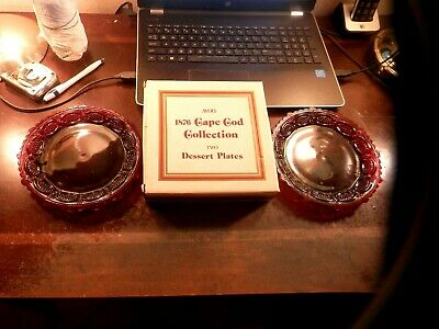 Vintage 1876 Cape Cod Collection / Two Dessert Plates / Ruby Red / Avon org. box