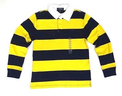 Ralph Lauren Boys Rugby Polo Shirt Long Sleeves Striped Yellow Blue 10 12 M Pony