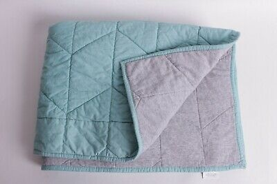 New Pottery Barn Kids Aqua & gray solid toddler quilt crib