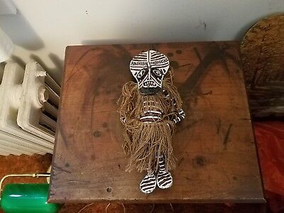 Voodoo Doll Black and White Striped Hairy Scary 12x4 Voodoo Doll Wicca Paganism