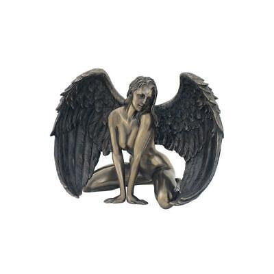 Winged Nude Female Kneeling With Hands In Front - Artistic Sculpture