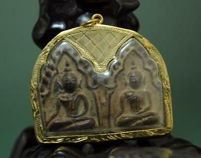 Old Collect Thailand Ayutthaya Maitreya Buddha Incense Ash Card Statue /04
