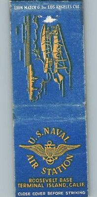 Rare Wwii Usa Home Front Naval Air Station Roosevelt Base Ca Matchbook Cover Wow