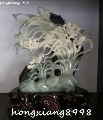 """10"""" Top Quality Natural Dushan Jade Butterfly Narcissus Daffodil Flower Statue"""