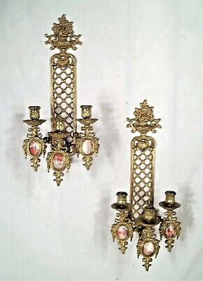 Pair Of Mid Century Italian Rococo 3 Arm Brass Candle Sconces With Marble Panels