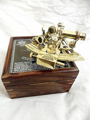 Nautical Maritime ~ Brass Sextant W/ Wooden Box ~ Sextant Astrolabe 6""