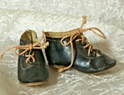 Antique SWEET Leather Shoes For Your French Fashion Doll - Marked 5