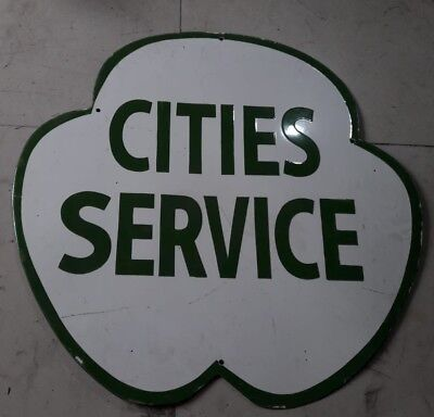 """Porcelain Cities Service Enamel Sign Size 30"""" x 30"""" Inches  Double Sided"""