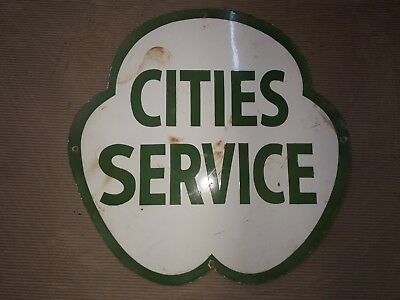 """Porcelain Cities  Service  Enamel Sign Size 24"""" Inches"""