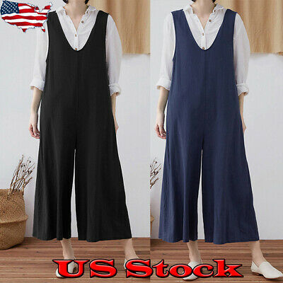 Women Romper Overall Loose Suspender Casual Trouser Wide Leg Pant Jumpsuit New