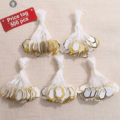 500 Pcs Jewelry Pricing Price Tags With String Strung String Shield Shape Tags