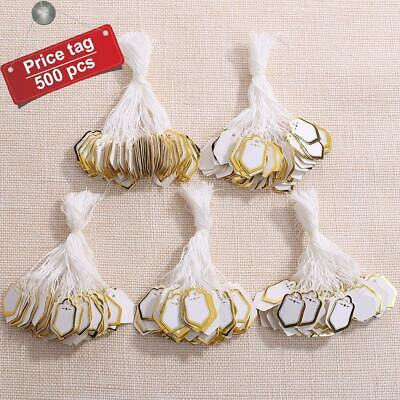 500pcs Jewelry Pricing Price Tags With String Strung String Shield Shape Tags AU