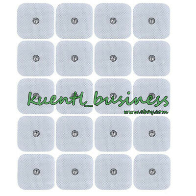 40 Snap On Replacement Electrode Pads Tens Units 2 x 2 Inch White Cloth