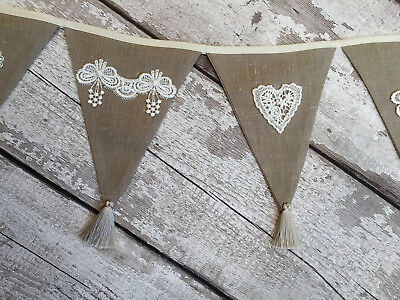 12 pennants long bunting. Shabby chic vintage natural linen, lace, guipure