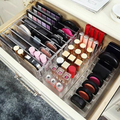 US Transparent MakeUp Drawers Holder Jewelry Storage Cosmetic Box Case Organizer