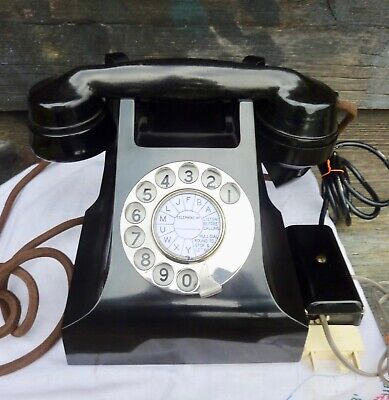 Vintage Black Bakelite Phone. Fully working.Stunning.C1940/50.