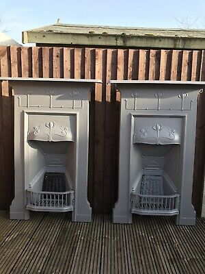 Original Restored Antique Edwardian/Victorian Cast Iron Bedroom Fireplace.