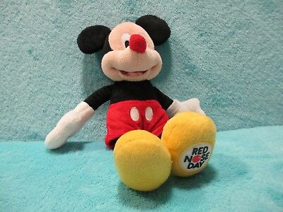 Disney Store Exclusive Comic Relief Day - Red Nose Mickey Mouse Beanie Soft Toy