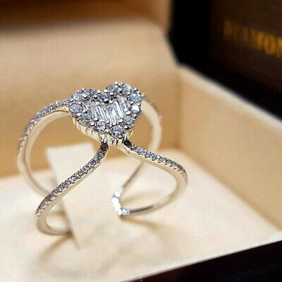 Girl Exquisite Fashion Sterling Silver Heart-shaped Diamond Anniversary Gift ONE