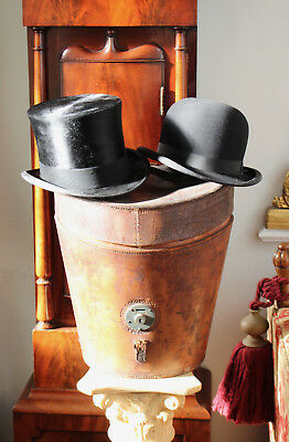 A Fine Edwardian Treble Hat Case With LARGE Silk Top Hat and Bowler, 7 & 1/8th