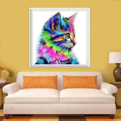 5D DIY Round Drill Diamond Painting Colorful Cat Cross Stitch Embroidery Bedroom