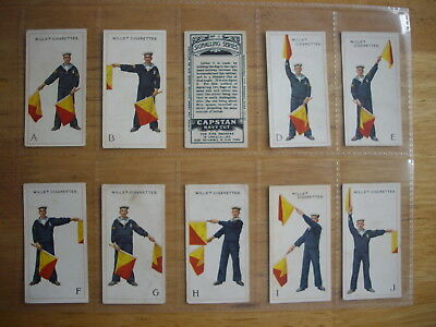 Cigarette Card Set (50) Wills Capstan Navy Cut Signalling Series Iss. 1913 cards
