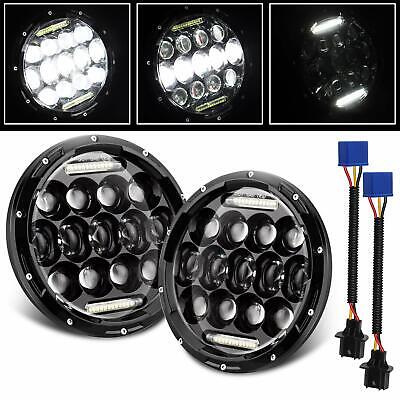 "2pcs 7"" inch Black For JEEP JK GQ PATROL Projector LED Headlight DRL Insert 85w"