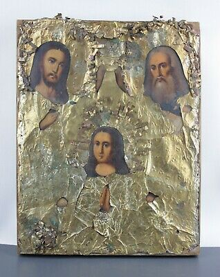 Antique Icon Orthodox Russian Empire Oil Wood 267 x 210 mm