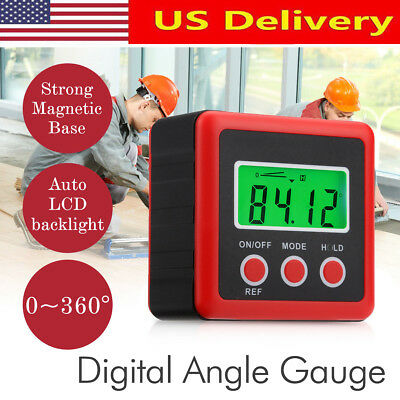 LCD Digital Protractor Angle Finder Bevel Level Box Inclinometer Meter Waterprof