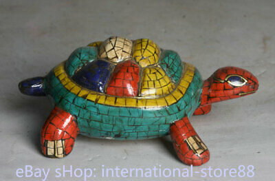 4.4 inch Old Tibetan Copper Turquoise Feng Shui Turtle Tortoise Statue
