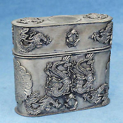 Rare old statue tibet silver carved dragon toothpick box