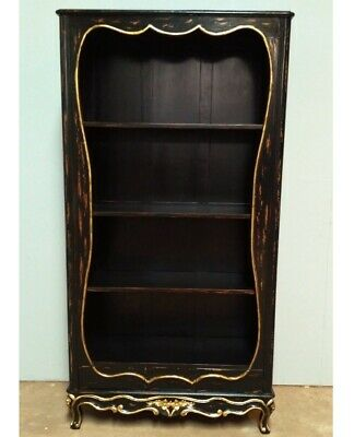 Mahogany French Louis XV1 Chateau Style Antique Black Painted Bookcase