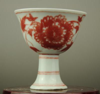 Chinese old red glaze porcelain flower pattern tall foot cup/chenghua mark