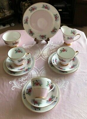 Pretty Vintage Windsor Bone China Tea Set Pink & Floral